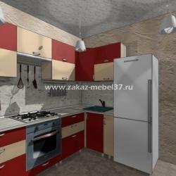 Кухня Красно-бежевая